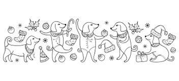 Vector la frontera con el perro feliz del esquema en negro aislado en el fondo blanco Símbolo del Año Nuevo chino 2018 en estilo  ilustración del vector