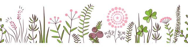 Vector la frontera inconsútil con las plantas del bosque y del prado Fondo para los marcos, cinta escocesa decorativa, carteles,  Foto de archivo libre de regalías