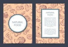 Vector la frutta di scarabocchio ed il vegano disegnati a mano delle verdure, la carta sana dell'alimento, l'opuscolo, modello de Immagini Stock