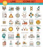 Vector la genética y la línea plana sistema de la tecnología de la bioquímica del icono Diseño moderno del estilo elegante para e libre illustration