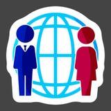 Vector a la gente del icono del negocio que se coloca al lado de una red mundial ilustración del vector