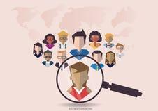 Vector la gente della ricerca per il lavoratore dei gruppi di affari con la mappa di mondo di vettore Progettazione piana Fotografia Stock Libera da Diritti