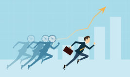 Vector la gente di affari sul grafico competitivo con tempo di affari Immagini Stock Libere da Diritti