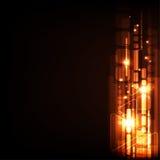 Vector la geometría en un concepto de la tecnología en un fondo anaranjado oscuro Imagen de archivo libre de regalías
