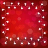 Vector la ghirlanda realistica della lanterna del ` s del biglietto di S. Valentino della st su fondo rosso carta del ` s del big Immagine Stock Libera da Diritti