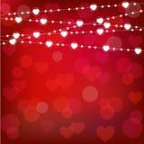 Vector la ghirlanda realistica della lanterna del ` s del biglietto di S. Valentino della st su fondo rosso carta del ` s del big Immagine Stock