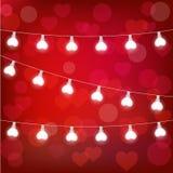 Vector la ghirlanda realistica della lanterna del ` s del biglietto di S. Valentino della st su fondo rosso carta del ` s del big Immagini Stock Libere da Diritti