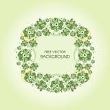 Vector la guirnalda con las flores y las bayas estilizadas verdes Tarjeta floral, casandose el fondo de la invitación Fotografía de archivo