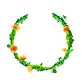 Vector la guirnalda, marco del círculo con las flores de la acuarela, fuzzies del diente de león, mano dibujada para casarse el d Fotos de archivo