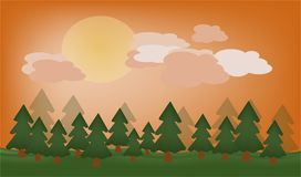 Vector la hermosa vista de la naturaleza y del bosque en la puesta del sol o la salida del sol Fotografía de archivo libre de regalías