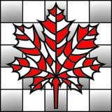 Vector la hoja de arce del ejemplo en tablero de ajedrez en estilo del mosaico Fotografía de archivo
