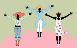 Vector la ilustración de tres mujeres en varios equipos Imagenes de archivo