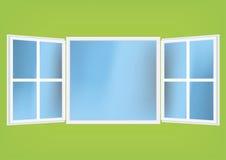 Vector la ilustración de una ventana abierta con las cortinas stock de ilustración