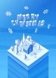 Vector la imagen de la casa de madera azul de la Navidad ilustración del vector