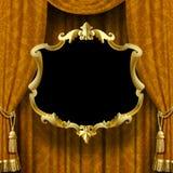 Vector la imagen de la cortina amarillo-marrón con el ornamento barroco y f ilustración del vector