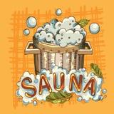 Vector la imagen de los accesorios de la sauna en imagen de fondo ilustración del vector