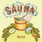 Vector la imagen de los accesorios de la sauna en imagen de fondo libre illustration