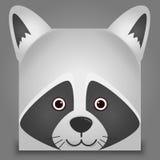 Vector la imagen de un estilo del cuadrado de la cara del mapache Fotografía de archivo libre de regalías