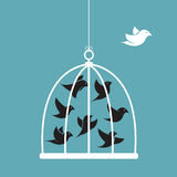 Vector la imagen de un pájaro en la jaula y el exterior la jaula Imágenes de archivo libres de regalías