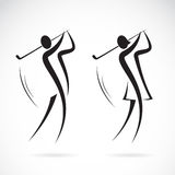 Vector la imagen de un varón y los golfistas de sexo femenino diseñan stock de ilustración