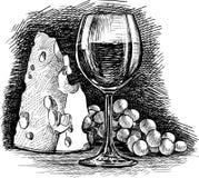 Vino y queso de la uva Imagen de archivo