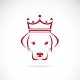 Vector la imagen de una cabeza de perro que lleva una corona Fotografía de archivo