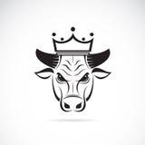 Vector la imagen de una cabeza del toro que lleva una corona Foto de archivo
