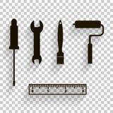 Vector la imagen del icono de un sistema para la reparación, para el trabajo Cepillo, regla, s stock de ilustración