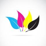 Vector la imagen del las hojas en colores del cmyk Fotos de archivo