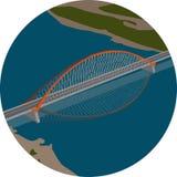 Vector la imagen del puente sobre el río Fotos de archivo libres de regalías