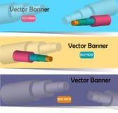 Vector la imagen del whith 3D de las banderas de tuberías de acero en el aislamiento de la espuma libre illustration