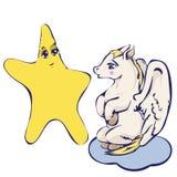 Vector la imagen Pegaso y la estrella en estilo de la historieta stock de ilustración