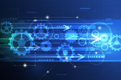 Vector la ingeniería futurista abstracta de la rueda de engranaje en placa de circuito Imagenes de archivo