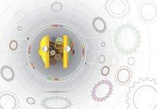 Vector la innovación y el engranaje del robot del ejemplo con la telaraña de la red Imagenes de archivo