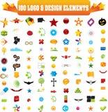 Vector la insignia y diseñe los elementos, 100 pedazos Imagenes de archivo