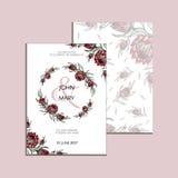 Vector la invitación con los elementos y las flores florales hechos a mano del protea Colección moderna de la boda Gracias cardar Imagenes de archivo