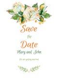 Vector la invitación de boda hermosa de la rosa y de otra del blanco libre illustration