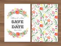 Vector la invitación de la boda con las flores y typographi de la acuarela Imagen de archivo
