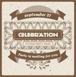 Vector la invitación fresca del inconformista del vintage para la celebración, el diseño, el sitio y el otro caso Fotos de archivo