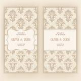 Vector la invitación, las tarjetas o la invitación de boda con el fondo del damasco y los elementos florales elegantes Fotografía de archivo
