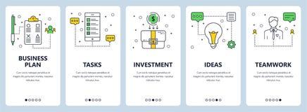 Vector la línea fina moderna banderas del web del concepto del plan empresarial ilustración del vector