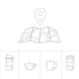 Vector la línea icono con el café Pin Pointer y los iconos del café aislados en blanco Icono de la ubicación del marcador Imagenes de archivo