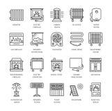 Vector la línea iconos con el radiador, la estufa de convección y la chimenea Heatin stock de ilustración