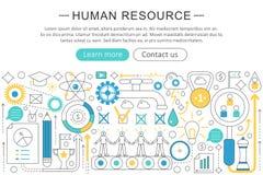 Vector la línea moderna concepto plano del recurso humano del diseño Jefe del sitio web de los iconos del recurso humano, bandera Fotografía de archivo