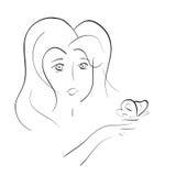 Vector la línea mujer joven hermosa del ejemplo del arte que mira en la mariposa que se sienta en su mano Imagenes de archivo