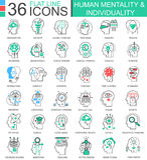 Vector la línea plana iconos de la individualidad humana de la mentalidad del esquema para los apps y el diseño web Fotos de archivo