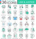 Vector la línea plana iconos del color de la ley y de la justicia del esquema para los apps y el diseño web Elementos de la justi Imagen de archivo libre de regalías