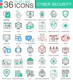 Vector la línea plana iconos del color moderno cibernético de la seguridad del esquema para los apps y el diseño web Fotos de archivo libres de regalías