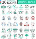 Vector la línea plana iconos del color moderno de los utensilios de jardinería del esquema para los apps y el diseño web Foto de archivo libre de regalías