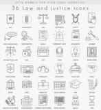 Vector la línea ultra moderna iconos del esquema de la ley y de la justicia para el web y los apps Imágenes de archivo libres de regalías